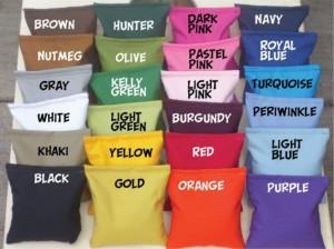 Coastal Tailgating Cornhole Bag Color Samples