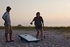 Playing Cornhole on the beach