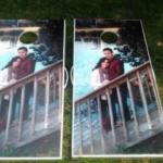 Custom Cornhole Boards with Engagement Photo