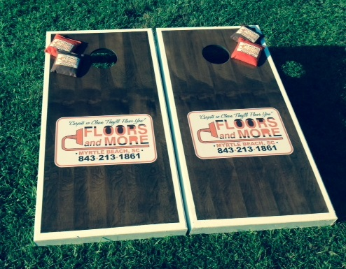 Custom Cornhole Boards to advertise your small business.