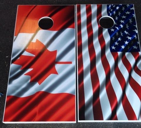 Cornhole Board Set US and Canadian Flags