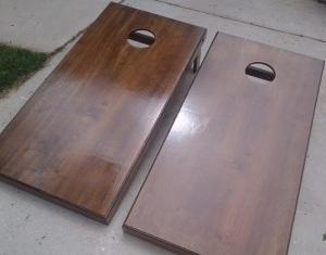 Cornhole Board Set Wood Grain Example
