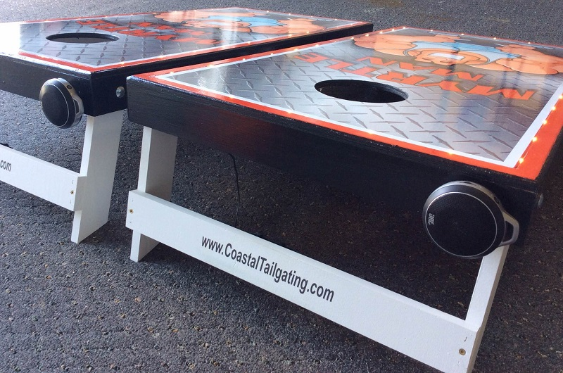 Play your tunes with your cornhole boards
