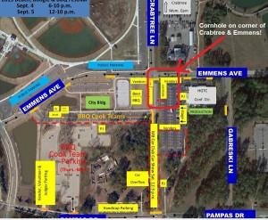 Map showing Cornhole Tournament location at festival
