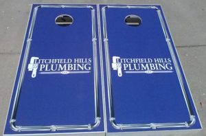 A sample of our commercial Cornhole Boards for local business owners